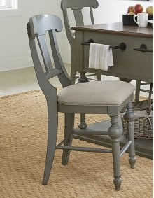 Slat Counter Chair (2/Ctn) - Putty/Oak Finish