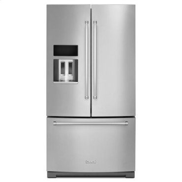 Stainless Steel KitchenAid® 29 Cu. Ft. 36-Inch Width Standard Depth French Door Refrigerator with Exterior Ice and Water