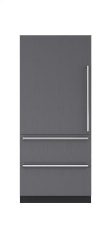 """36"""" Integrated Over-and-Under Refrigerator/Freezer with Internal Dispenser and Ice Maker - Panel Ready"""