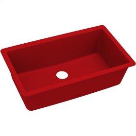 "Elkay Quartz Luxe 33"" x 18-7/16"" x 9-7/16"", Single Bowl Undermount Sink, Maraschino"