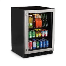 """Marvel 24"""" Beverage Center - Stainless Frame Glass Door - Left Hinge"""