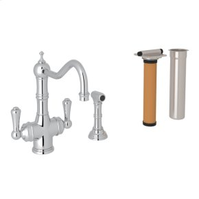 Polished Chrome Perrin & Rowe Edwardian Filtration 2-Lever Kitchen Faucet With Sidespray with Traditional Metal Lever