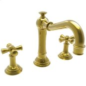 Uncoated-Polished-Brass-Living Widespread Lavatory Faucet