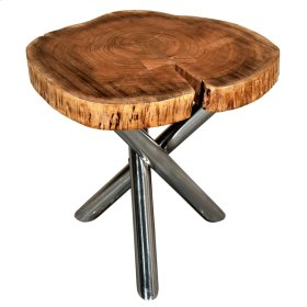 Shlok Accent Table in Natural with Chrome Legs