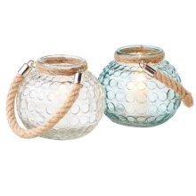 Small Circle Glass Votive Holder with Rope Handle (2 asstd).