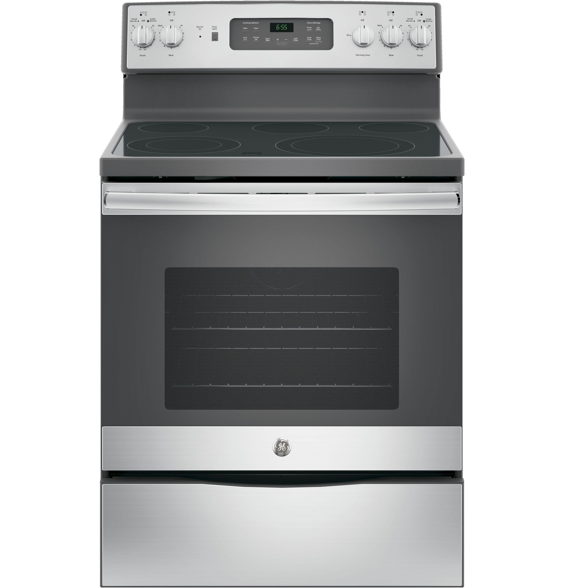 """GE(R) 30"""" Free-Standing Electric Convection Range  STAINLESS STEEL/GRAY"""