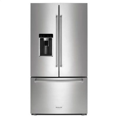 "KitchenAid® 23.8 cu. ft. 36"" Counter-Depth French Door Platinum Interior Refrigerator with PrintShield™ Finish - PrintShield Stainless Product Image"