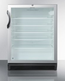 ADA Compliant, Commercially Approved Glass Door Beverage Center With Black Cabinet and Front Lock