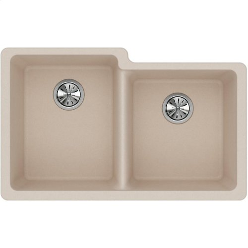 "Elkay Quartz Classic 33"" x 20-1/2"" x 9-1/2"", Offset Double Bowl Undermount Sink, Putty"