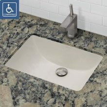 Callensia Rectangular Biscuit Vitreous China Undermount Lavatory With Overflow - Ceramic Biscuit