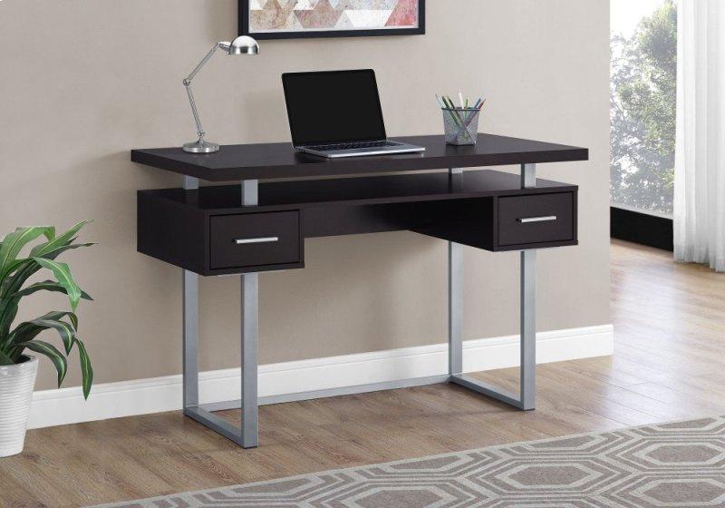 Computer Desk 48 L Cappuccino Silver Metal Monarch Specialties
