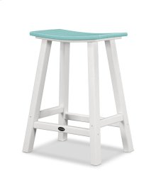 "White & Aruba Contempo 24"" Saddle Bar Stool"