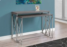 ACCENT TABLE - 2PCS SET / GREY WITH CHROME METAL