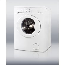 """Front-load washer in ADA compliant height, with stainless steel drum and 1000 rpm in slim 24"""" width"""