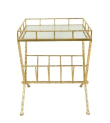 Gold Accent Table, Mirror W/ Magazine
