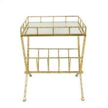 Gold Accent Table, Mirror W/ Magazine