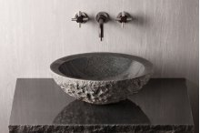 Chiseled Beveled Round Sink Charcoal Granite