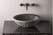 Chiseled Beveled Round Sink Charcoal Granite