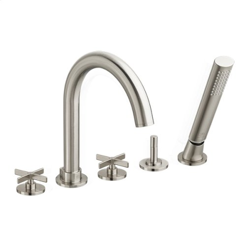 Percy Water Saving Deck-Mounted Bathtub Faucet with Cross Handles - Brushed Nickel
