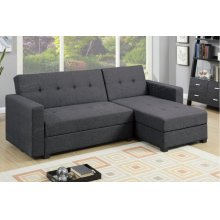 Charcoal Grey Chaise Sofa Futon bed with Storage