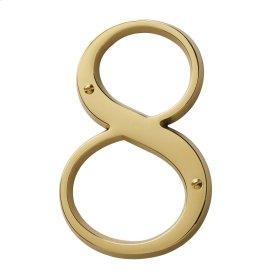 Lifetime Polished Brass House Number - 8