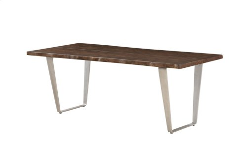 Dining Table 39x84-solid Top Mahogany-live Edge-no Leaf-brushed Nickel Legs Rta