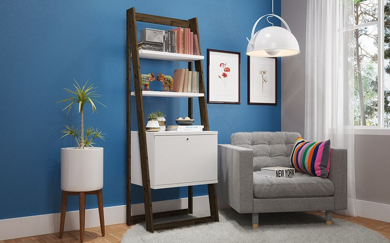 Salvador Ladder Bookcase with 2 Display Shelves and 1 Cubby in White and Dark Oak