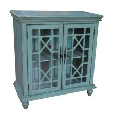 Mendenhall 2 Geometric Glass Door Textured Teal Cabinet
