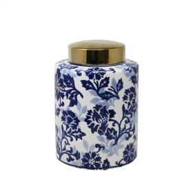 "White/blue Jar W/ Gold Lid 11"""