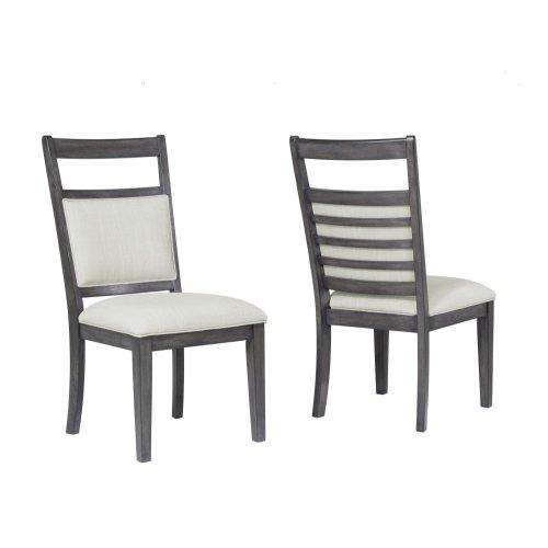DLU-EL-C90-2  Upholstered Slat Back Dining Chair  Gray