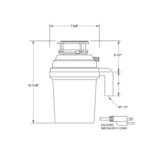 3/4 HP Pro 3 Bolt Mount, Continuous Feed Disposal
