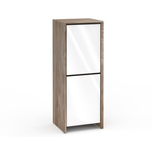 Salamander DesignsBarcelona 617, Single-Width Audio Cabinet, Natural Walnut with White Gloss Doors