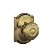 Georgian Knob with Camelot trim Non-turning Lock - Antique Brass
