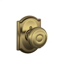 Georgian Knob with Camelot trim Non-turning Lock - Antique Brass
