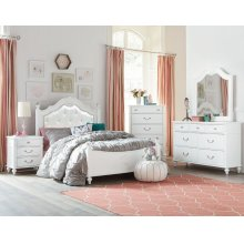 Olivia Twin Bedroom Set: Twin Bed, Nightstand, Dresser & Mirror
