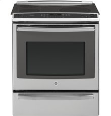 """GE Profile Series 30"""" Slide-In Electric Convection Range with Warming Drawer"""