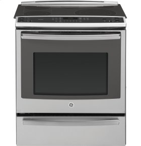 """CLOSEOUT- GE Profile™ Series 30"""" Slide-In Front Control Electric Convection Range with Warming Drawer"""