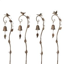 Gold Patina Curved Hook Garden Stake with Bell (4 asstd).