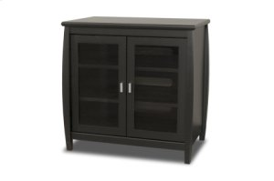 """30"""" Wide Hi Boy, Solid Wood and Veneer In A Black Finish, Accommodates Most 37"""" and Smaller Flat Panels"""