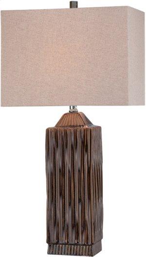 Table Lamp, Ceramic Body/linen Fabric Shade, E27 Cfl 23w