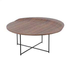 Brandy KD Round Coffee Table Black Legs, Walnut