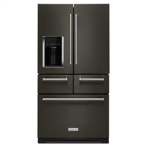 "Kitchenaid Black25.8 Cu. Ft. 36"" Multi-Door Freestanding Refrigerator with Platinum Interior Design - Black Stainless Steel with PrintShield™ Finish"
