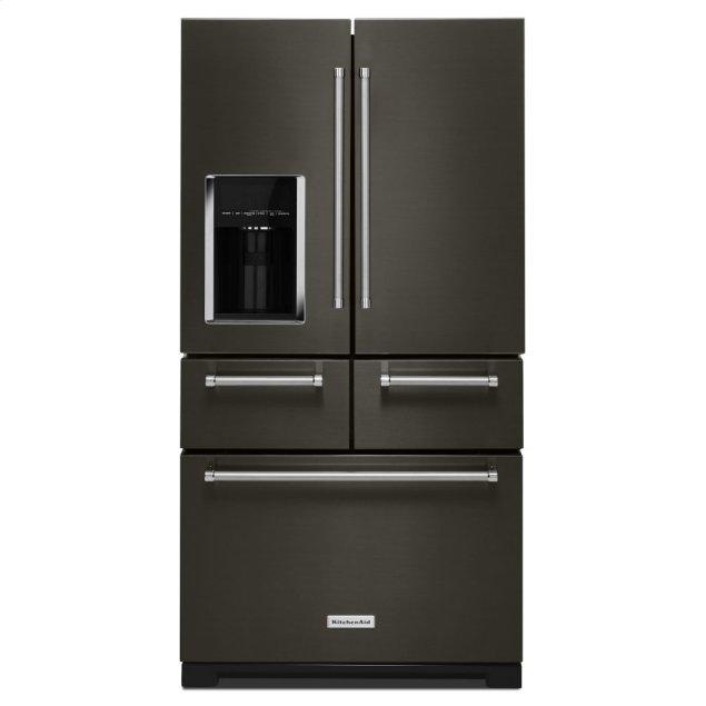 "KitchenAid 25.8 Cu. Ft. 36"" Multi-Door Freestanding Refrigerator with Platinum Interior Design - Black Stainless Steel with PrintShield™ Finish"