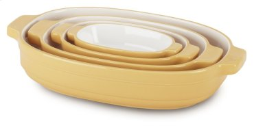 Ceramic 4-Piece Nesting Casserole Set - Buttercup