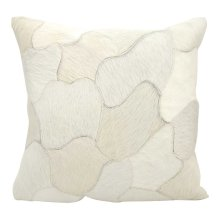"Natural Leather Hide C4600 White 20"" X 20"" Throw Pillow"