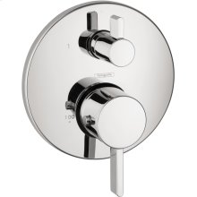 Chrome Thermostatic Trim S with Volume Control and Diverter