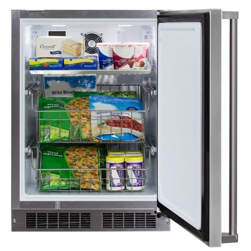 "24"" Marvel Outdoor All Freezer - Solid Stainless Steel Door with Lock, Left Hinge"