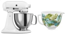 Exclusive Artisan® Series Stand Mixer & Patterned Ceramic Bowl Set - White