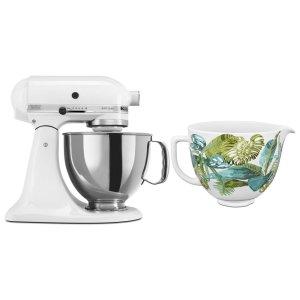KitchenaidExclusive Artisan® Series Stand Mixer & Patterned Ceramic Bowl Set - White