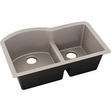 """Elkay Quartz Luxe 33"""" x 22"""" x 10"""", Offset 60/40 Double Bowl Undermount Sink with Aqua Divide, Silvermist"""